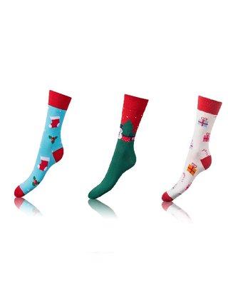 Zábavné crazy ponožky 3 páry - světle modrá - zelená - bílá Bellinda