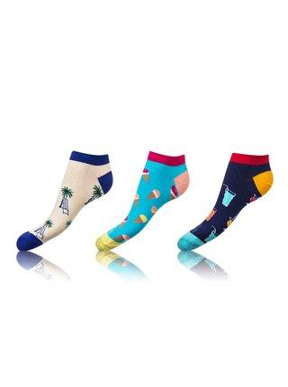 Zábavné nízké crazy ponožky unisex v setu 3 páry - modrá - světle modrá - černá Bellinda