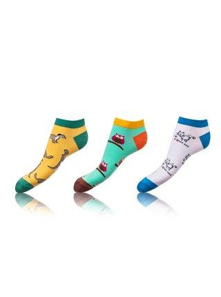 Zábavné nízké crazy ponožky unisex v setu 3 páry - žlutá - zelená - bílá Bellinda