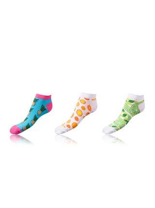 Kotníkové zábavné ponožky CRAZY IN-SHOE SOCKS 3 páry - Zábavné nízké crazy ponožky unisex v setu 3 páry - světle modrá - bílá - světle zelená