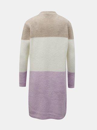 Béžovo-fialový dlhý kardigan ONLY