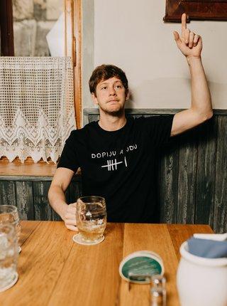Černé pánské tričko ZOOT Original Dopiju a jdu