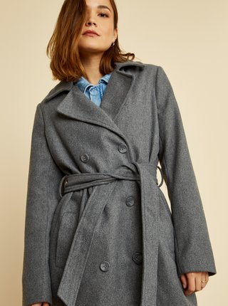 Šedý dámský kabát s příměsí vlny ZOOT
