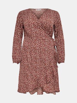 Hnědé vzorované šaty ONLY CARMAKOMA Livia