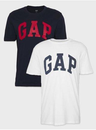 Sada dvoch pánskych tričiek v bielej a modrej farbe GAP Logo Basic