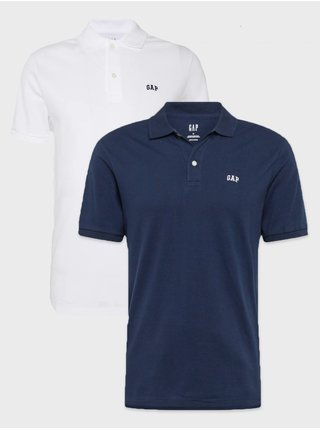 Sada dvoch pánskych tričiek v bielej a modrej farbe GAP Polo