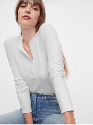 Bílé dámské tričko GAP Ribbed Henly