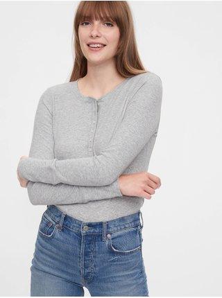 Šedé dámské tričko GAP Ribbed Henly