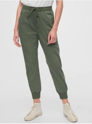 Zelené dámské kalhoty GAP Ribbed Joggers