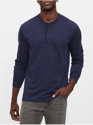 Modré pánske tričko GAP Henley