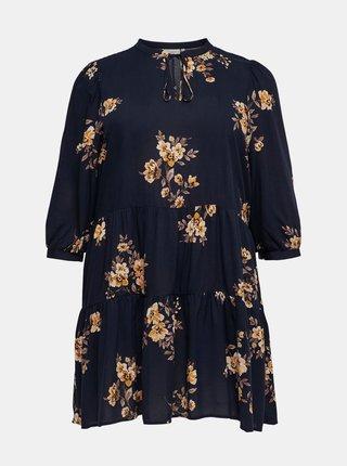 Tmavomodré kvetované šaty ONLY CARMAKOMA New