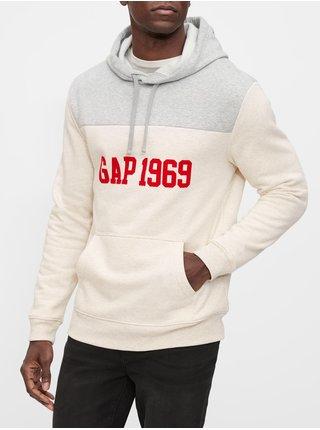 Béžová pánská mikina GAP Logo Hoodie