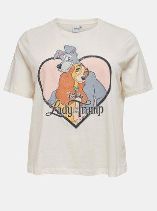 Krémové tričko s potlačou ONLY CARMAKOMA Lady