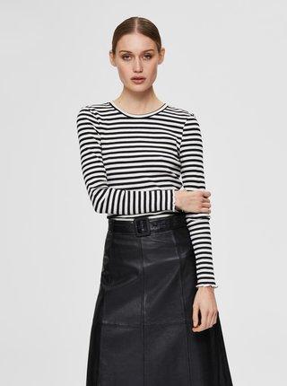 Čierno-biele pruhované tričko Selected Femme