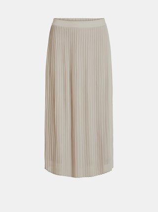 Krémová plisovaná midi sukně VILA