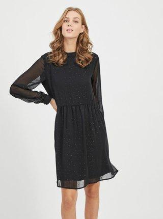 Čierne vzorované voľné šaty VILA