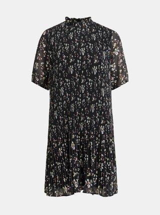 Čierne kvetované plisované šaty VILA