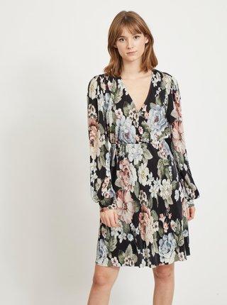 Zeleno-černé květované šaty VILA