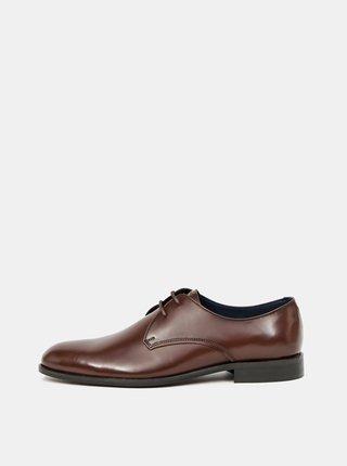 Hnedé kožené poltopánky Burton Menswear London
