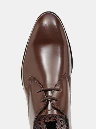 Hnědé kožené polobotky Burton Menswear London