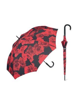 Happy Rain Long Red Rose holový deštník s potiskem růží - Červená