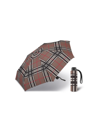 Happy Rain Petito Checks Brown dámský skládací mini deštník - Hnědá