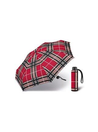 Happy Rain Petito Checks Red dámský skládací mini deštník - Červená