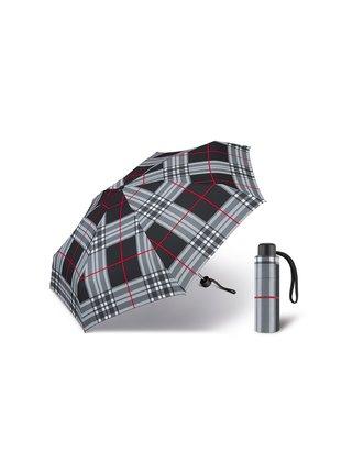 Happy Rain Petito Checks Black dámský skládací mini deštník - Šedá