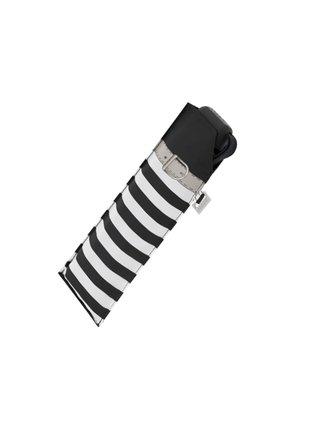 Doppler Carbonsteel SLIM Delight černý pruhovaný skládací plochý deštník - Černá