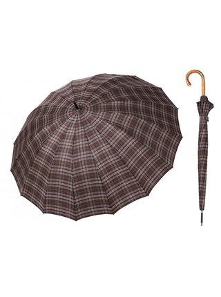 Bugatti Doorman káro luxusní pánský holový deštník s dřevěnou rukojetí - Šedá