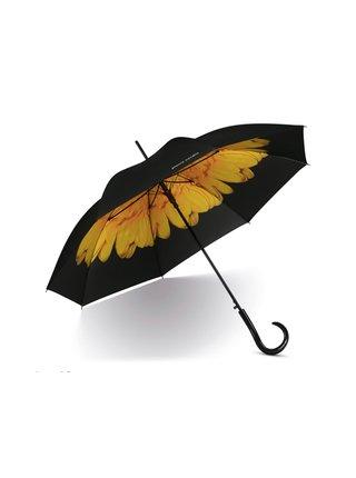 Pierre Cardin Petito Flower Yellow květovaný dámský mini deštník - Černá