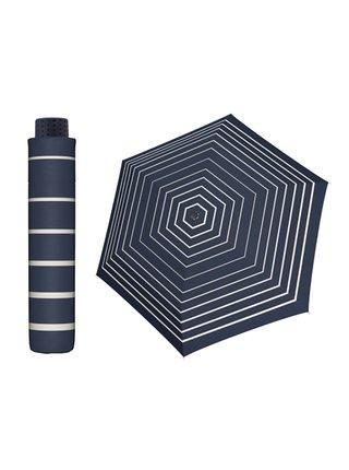 Doppler HAVANNA Timeless modrý s proužkem ultralehký skládací deštník - Modrá