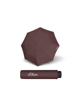 s.Oliver Smart Uni Seasonal Maroon Brown skládací mini deštník - Hnědá