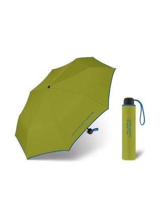 United Colors of Benetton Super Mini Pepper Stem - zelený deštník s modrým lemem - Zelená