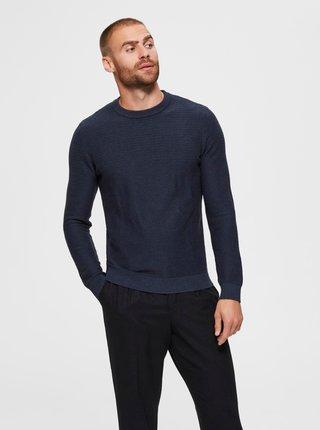 Tmavomodrý basic sveter Selected Homme