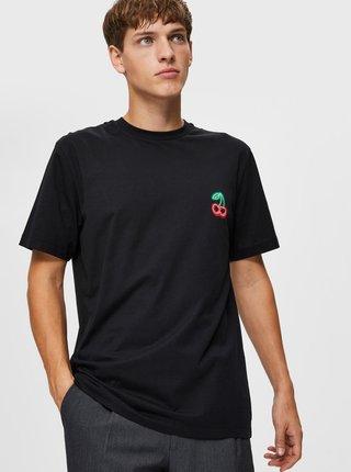 Čierne tričko s potlačou Selected Homme