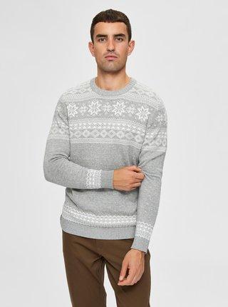 Šedý svetr s vánočním motivem Selected Homme