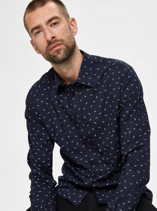 Tmavomodrá vzorovaná košeľa Selected Homme