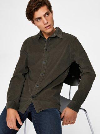 Kaki menčestrová košeľa Selected Homme