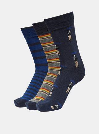 Sada troch párov modrých ponožiek Selected Homme