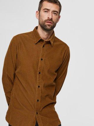 Hnedá menčestrová košeľa Selected Homme