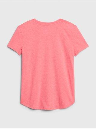 Ružové dievčenské tričko GAP National Geographic