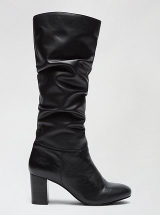 Čierne kožené čižmy Dorothy Perkins