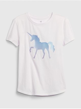 Bílé holčičí tričko GAP Interactive Graphic