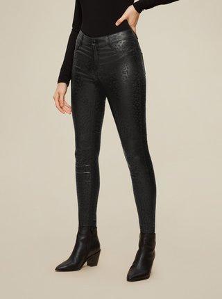 Černé koženkové vzorované skinny fit kalhoty Dorothy Perkins