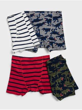Chlapčenské boxerky v modrej, červenej, bielej a šedej farbe GAP 4-Pack