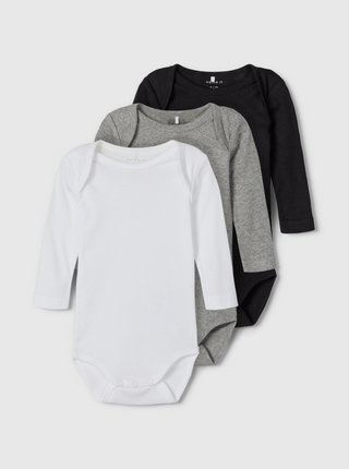 Sada troch detských body v bielej, šedej a čiernej farbe name it