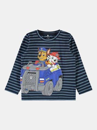 Modré pruhované chlapčenské tričko name it