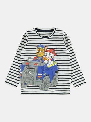 Bielo-modré chlapčenské pruhované tričko name it