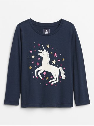 Tmavomodré dievčenské tričko GAP Graphic